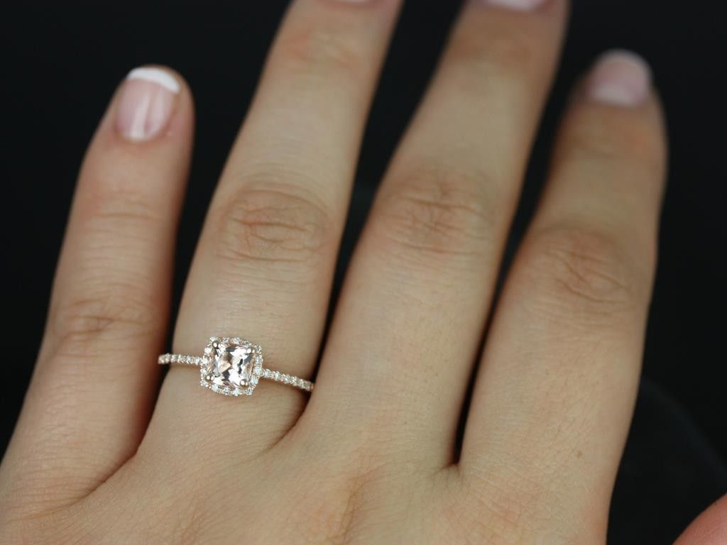 Rosados Box Barra Petite Rose Gold Cushion Cut Morganite And Diamonds  Cushion Halo Engagement Ring
