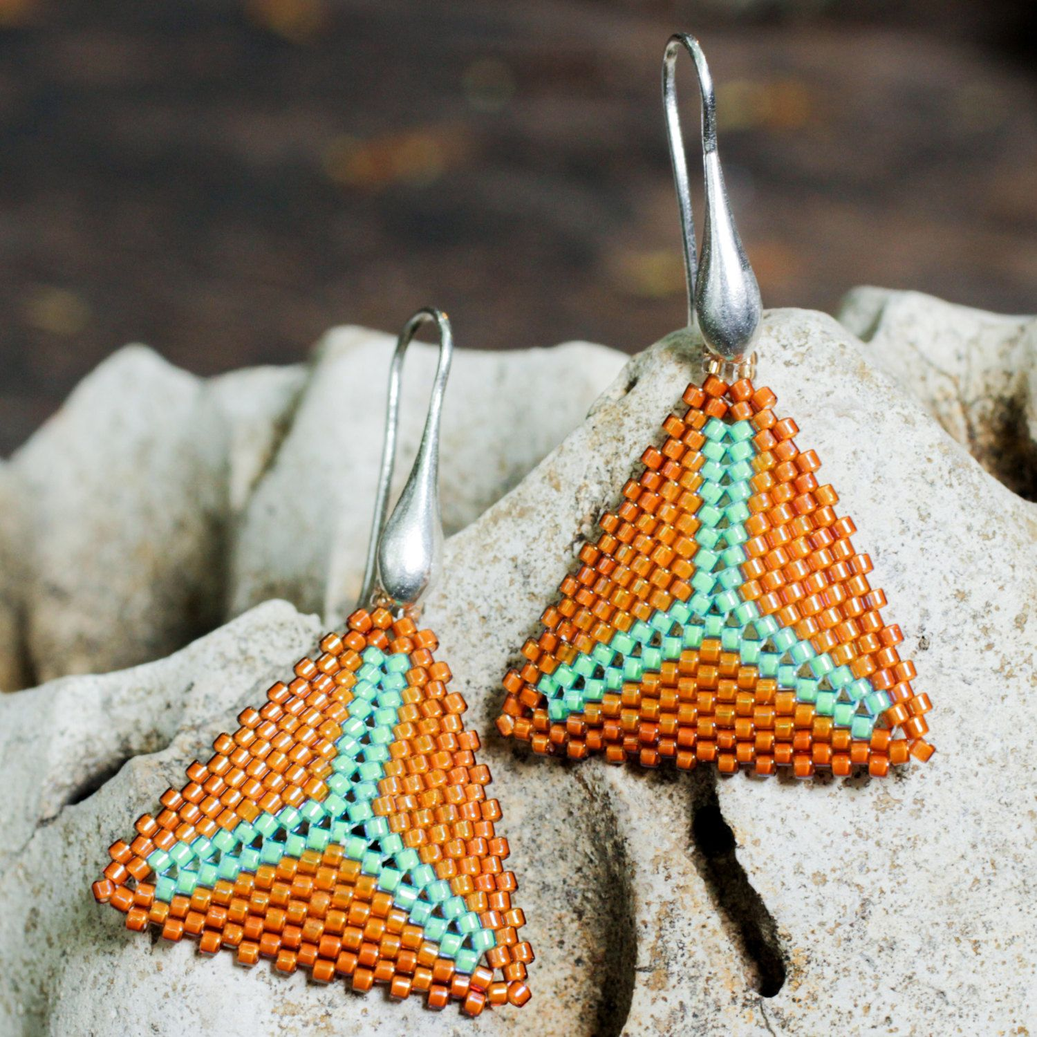 orange and green beaded earring with stunning Japanese Miyuki beads and sterling silver hardware