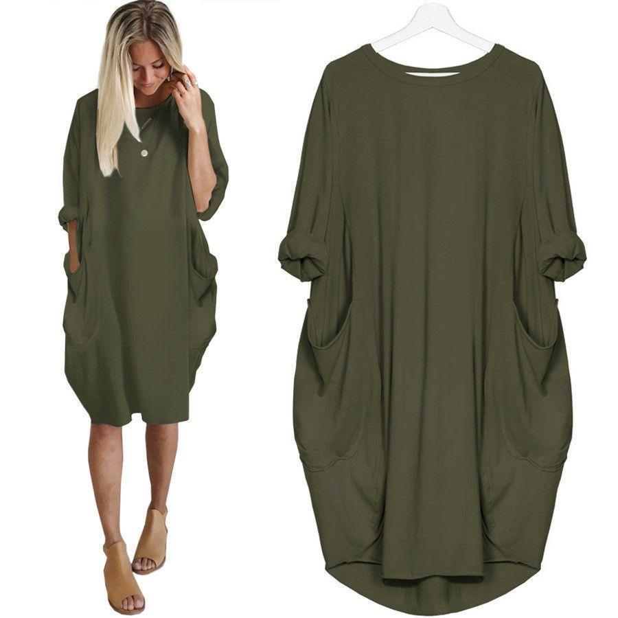 6fb99175c Women Oversized Long Sleeve Hoodie Loose Baggy Tops Jumper Dress ...