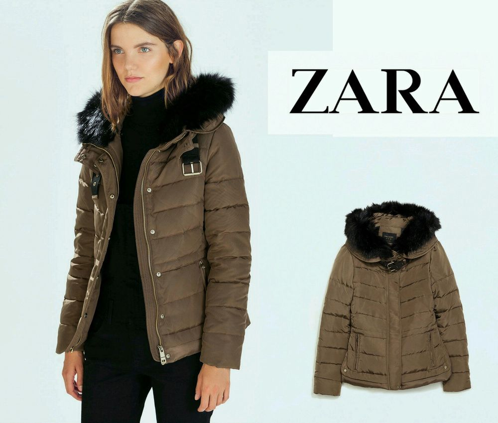 Stunning Zara Mink Brown Taupe Quilted Puffer Feather