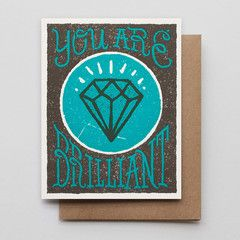 HAMMERPRESS   You Are Brilliant letterpress card