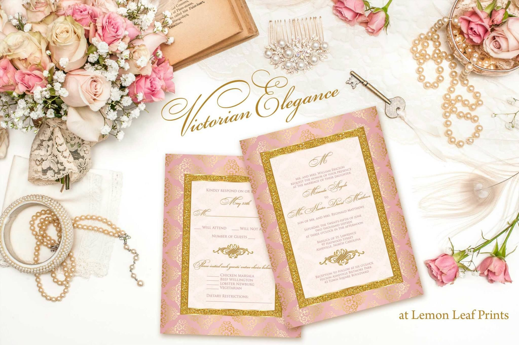 wedding invitation victorian elegance blush pink gold damask