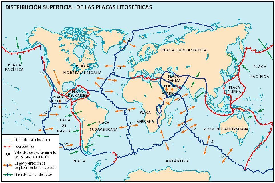 Mapa De Las Placas Tectónicas Con Su Velocidad De