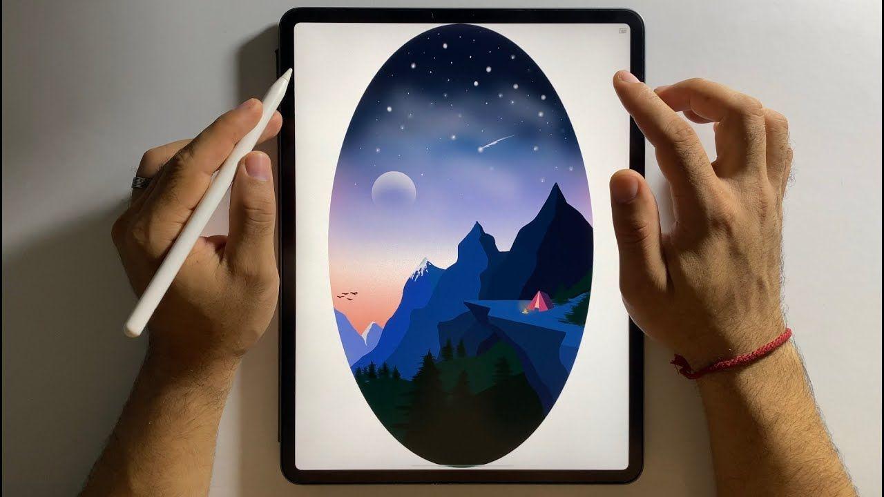 Dibujando Montanas Cielo Estrellado Ipad Pro Illustration Suriel Art Youtube Illustration Estrellas En El Cielo Ipad Pro