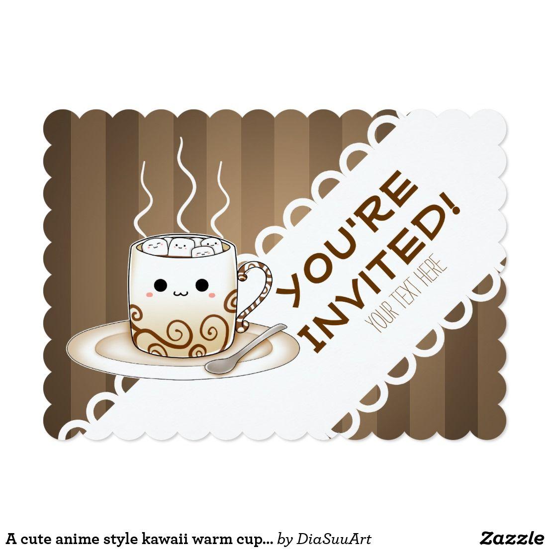 A cute anime style kawaii warm cup of cocoa invitation
