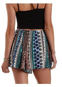 Striped & Printed High-Waisted Shorts