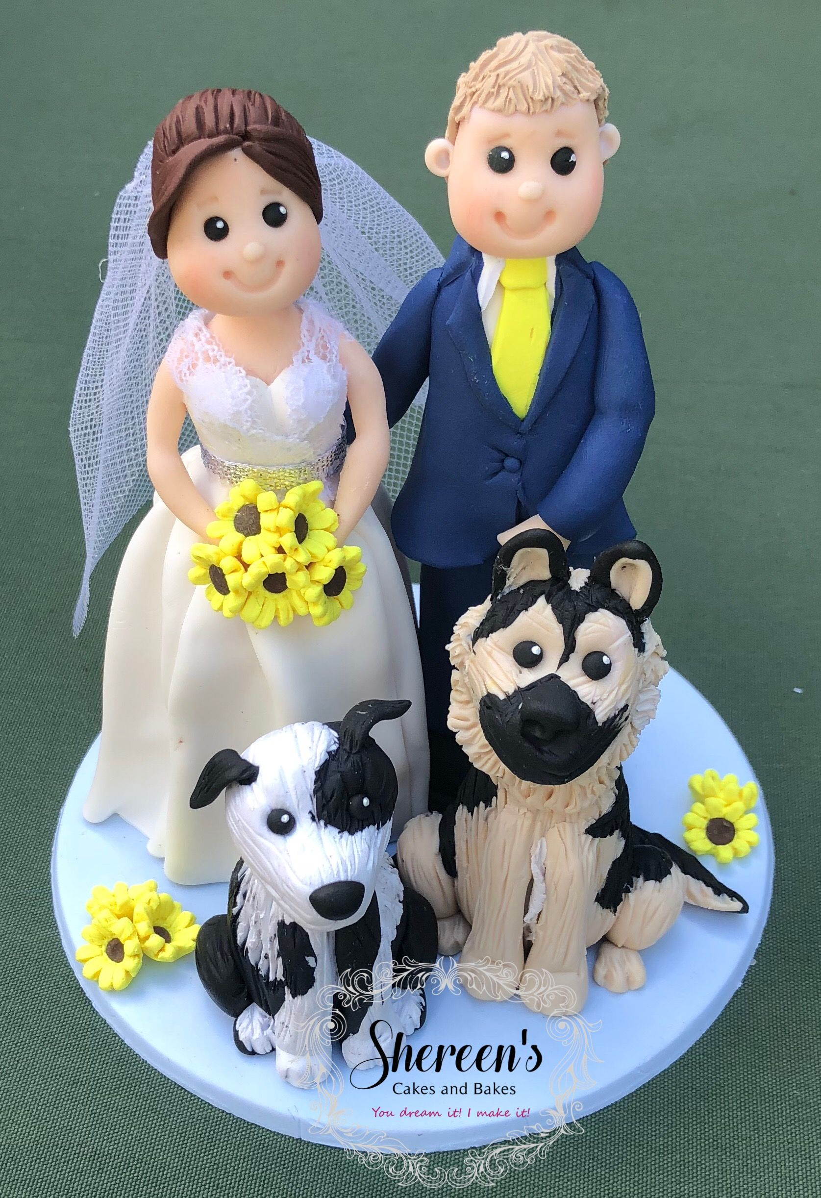 Bride and groom wedding topper dog cake topper wedding