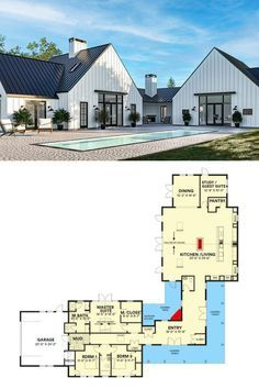 4 Bedroom Single Story Contemporary Country Home with Wraparound Porch Floor Plan
