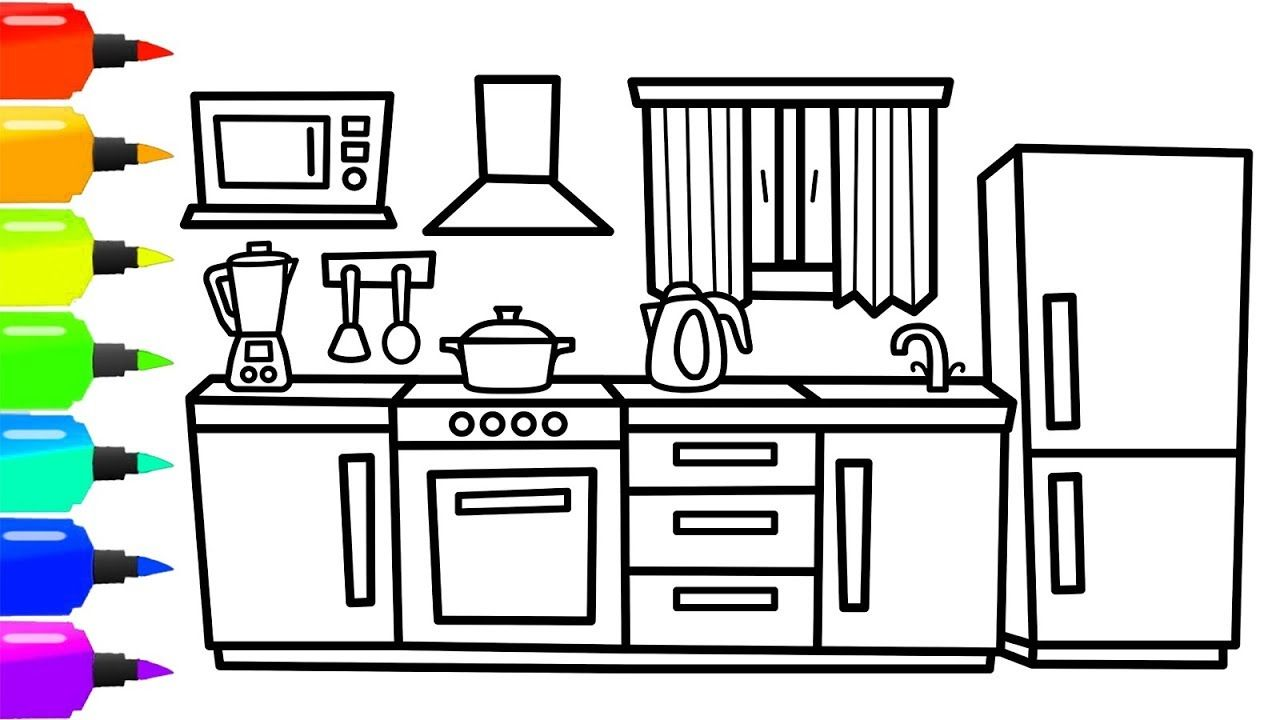 How To Draw A Kitchen For Kids Kitchen Coloring Page For