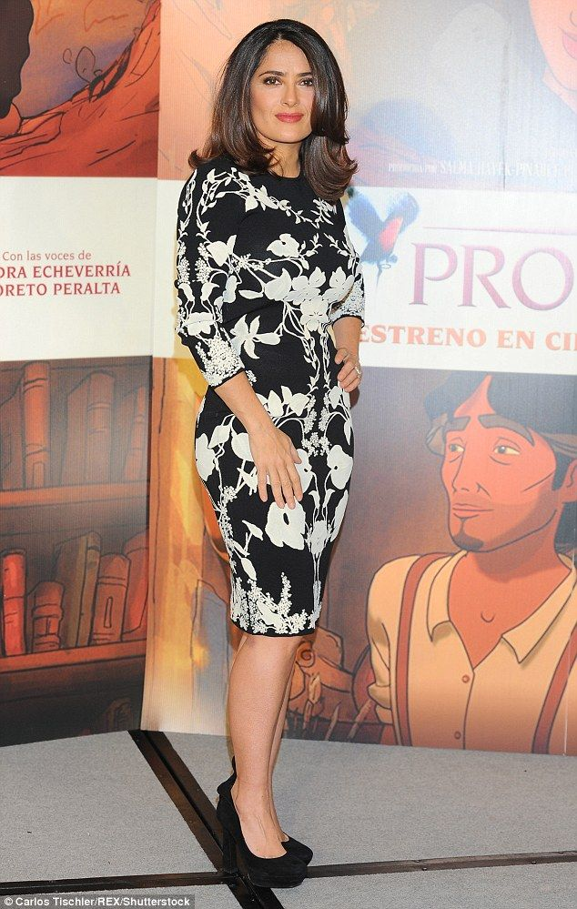48 Petal power! Salma Hayek dazzled in a curve-hugging black and white floral print dress at ...