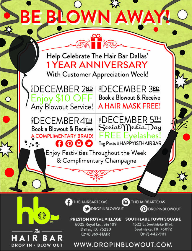Help The Hair Bar Celebrate Dallas One Year Anniversary