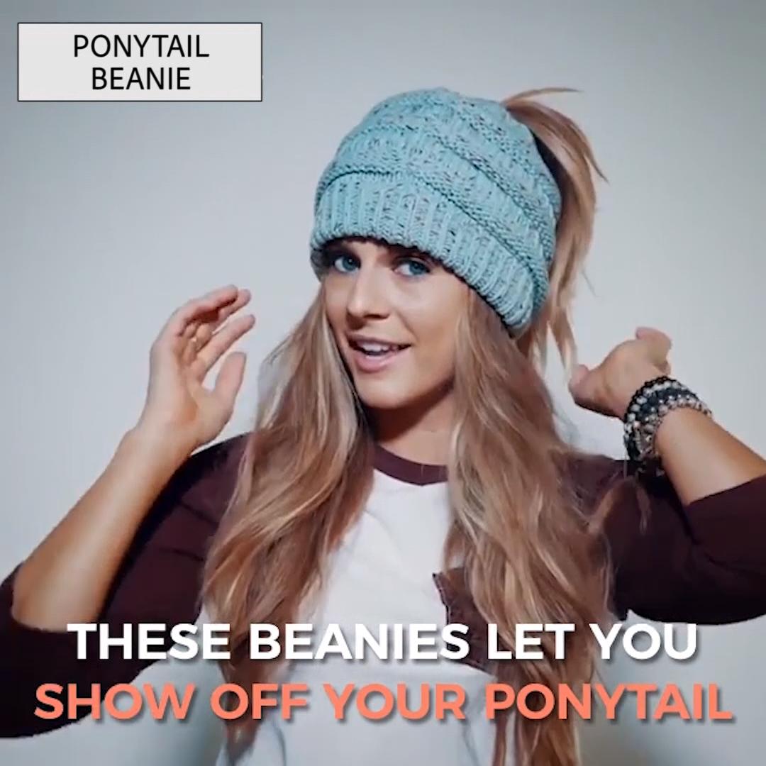 Photo of (50% RABATT – NUR HEUTE) Soft Knit Ponytail Beanie