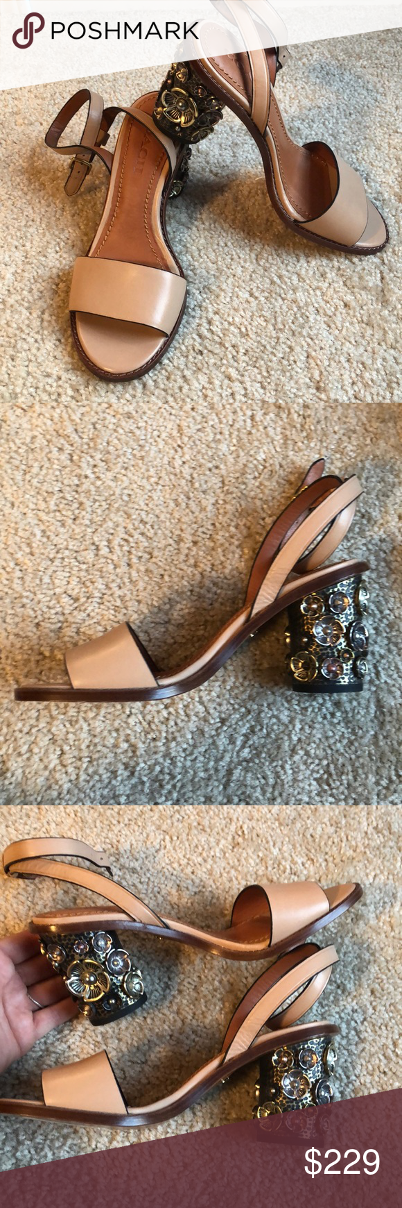"b81cce9f4f94 Coach Tea Rose Mid Heel sandal-7 Brand new. No box. Coach tea rose mid heel  sandal. In nude. Women s size 7 Leather Buckle closure 3"" heel Smoke Free  home ..."