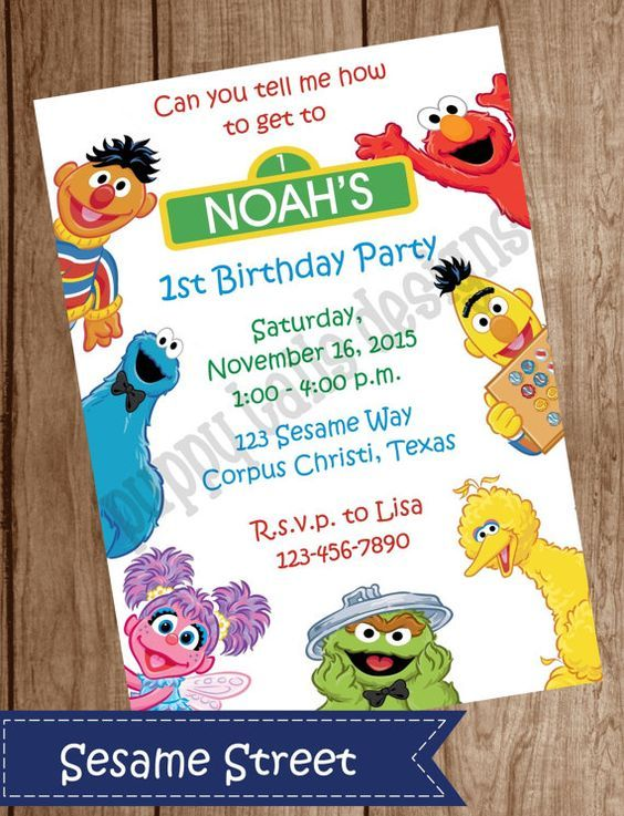 Pin by Cynthia Rosado on Invitations Boys Pinterest – Sesame Street Party Invitations