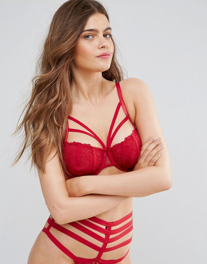 b91818176c1 Pour Moi Contradiction Strapped Underwire Bra B-G Cup - Red ...