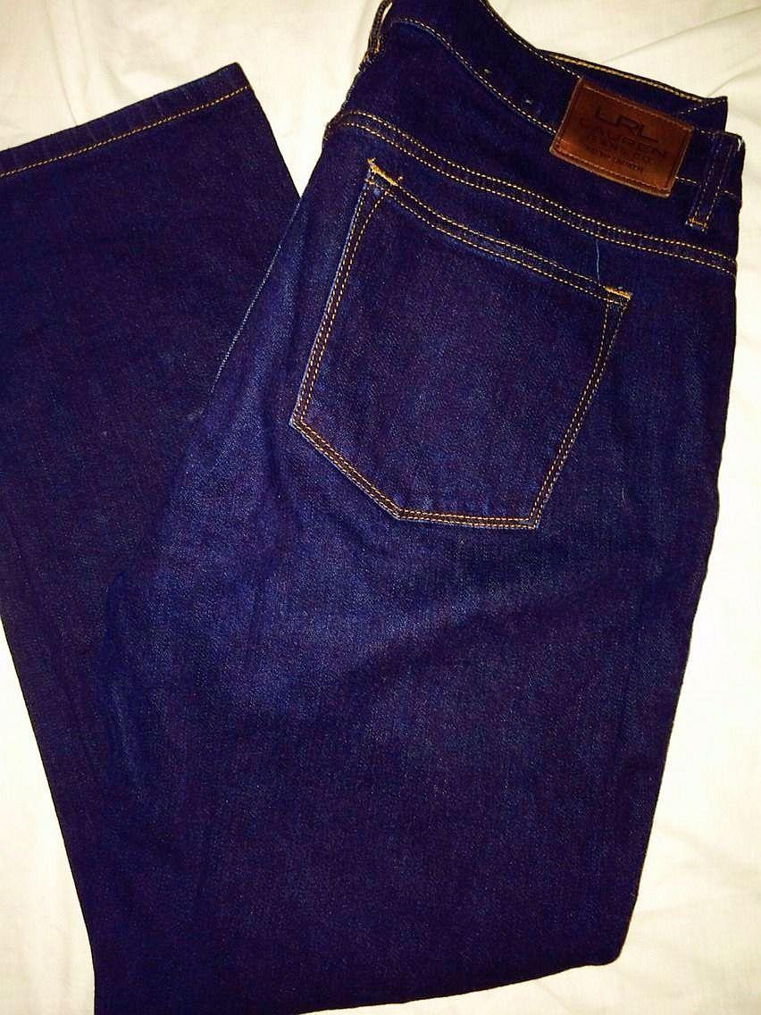 Ralph Lauren Jeans (Women's Pre-owned Dark Denim Stretch Straight Designer Jean Pants)