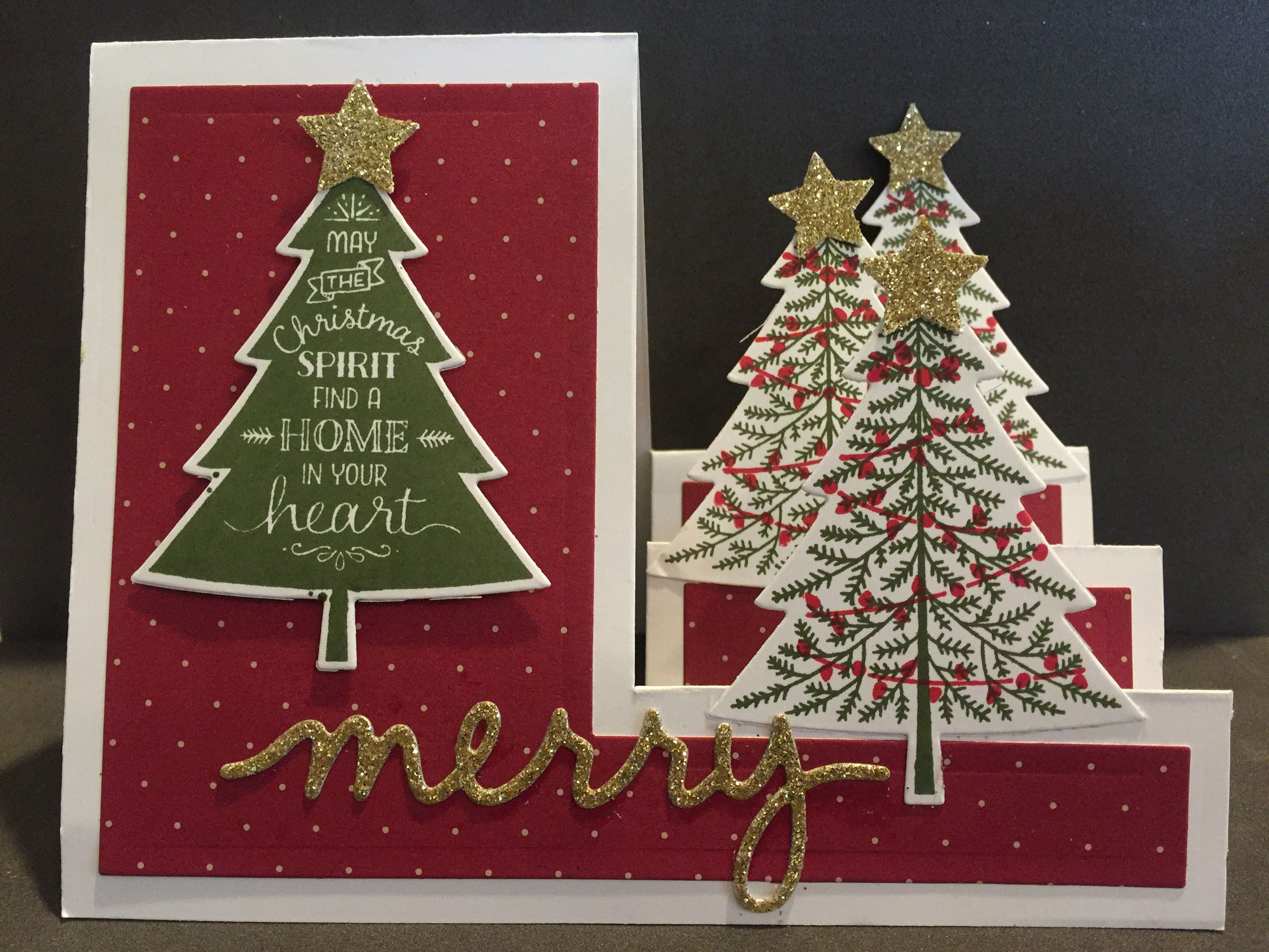 Attractive Christmas Card Making Ideas Stampin Up Part - 14: Christmas Card Using Stampinu0027 Up Peaceful Pines Stamp Set And Peaceful  Pines Framelits