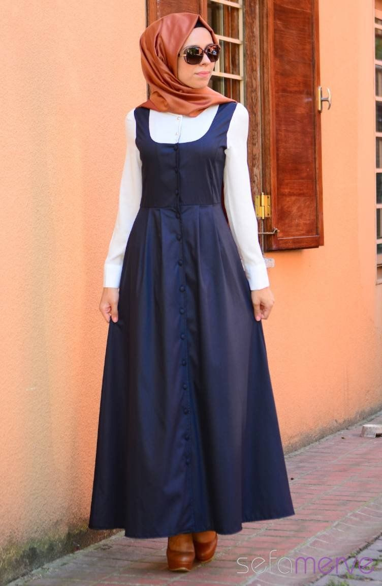 Sefamerve Tesettur Elbise 7149 Lacivert 04 752x1152 Jpg 752 1152 Islami Giyim Elbise Elbiseler