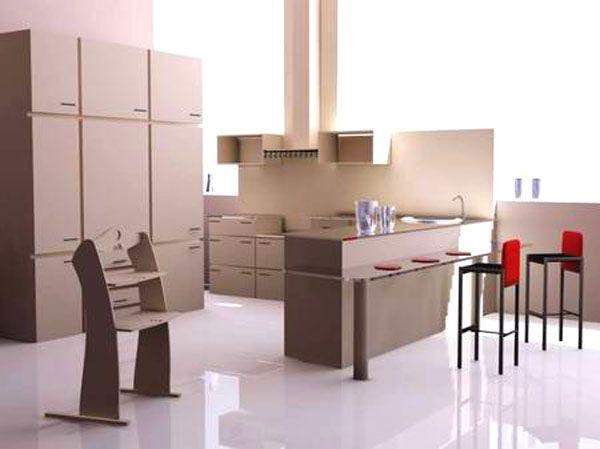 Kitchen interior 3D max Kitchens Pinterest Interiors, New