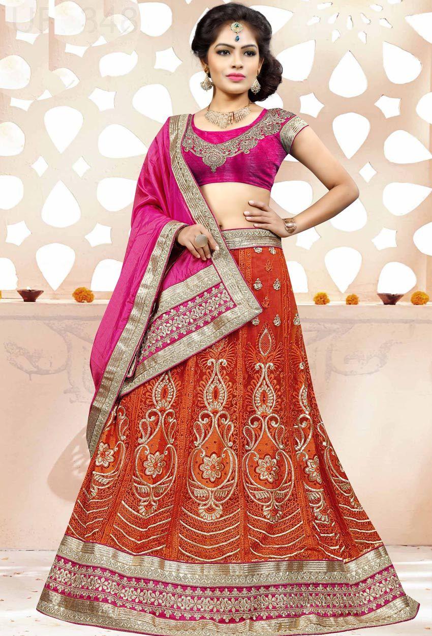 e968e48f5 Orange And Pink Faux Silk Circular Chaniya Choli