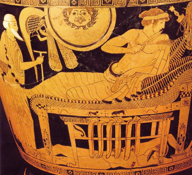 Priam approaches Achilles. Detail from an Athenian red ...