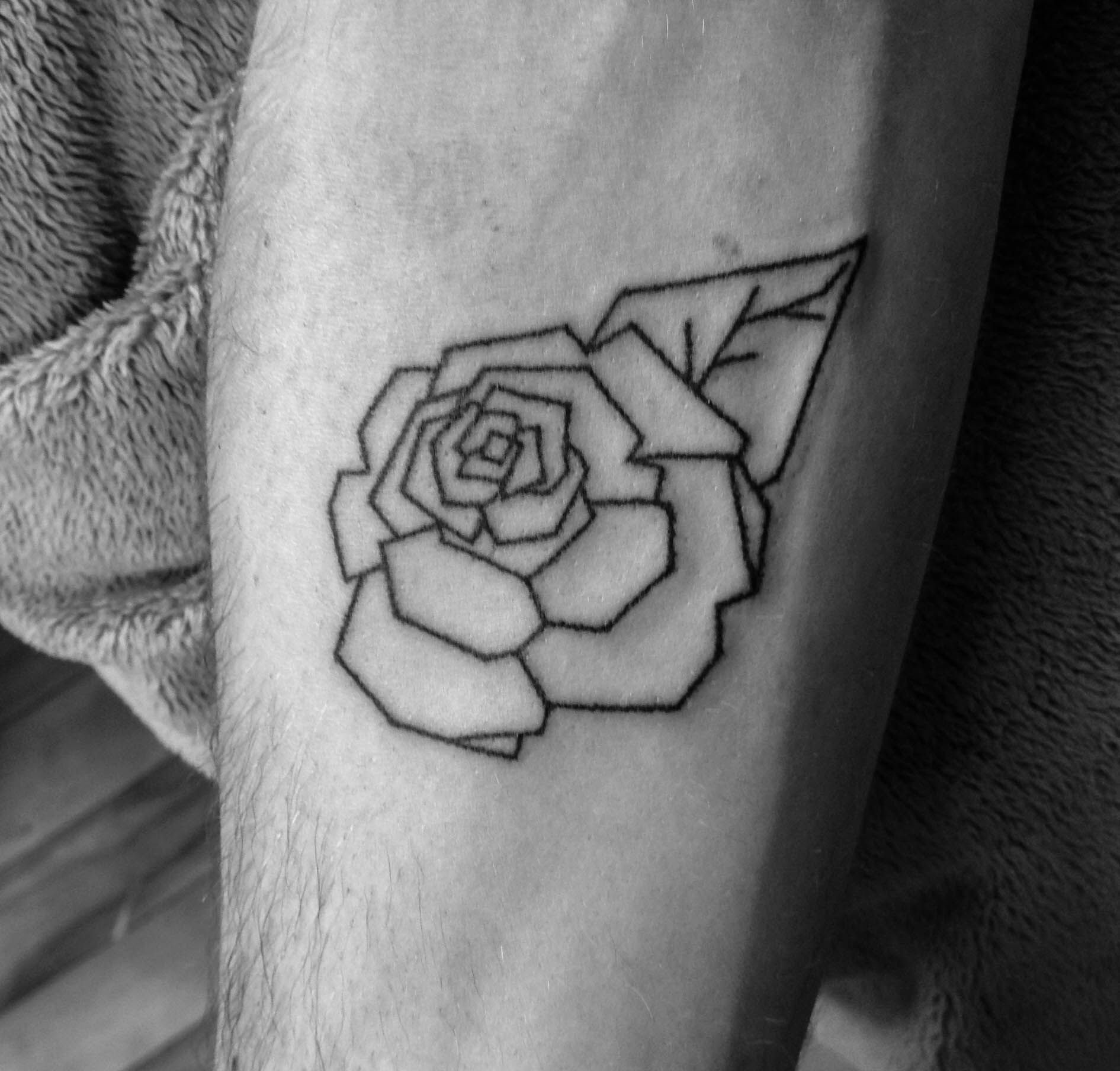 Stick And Poke Tattoo Par Pin Point Geometrical Rose Stick And