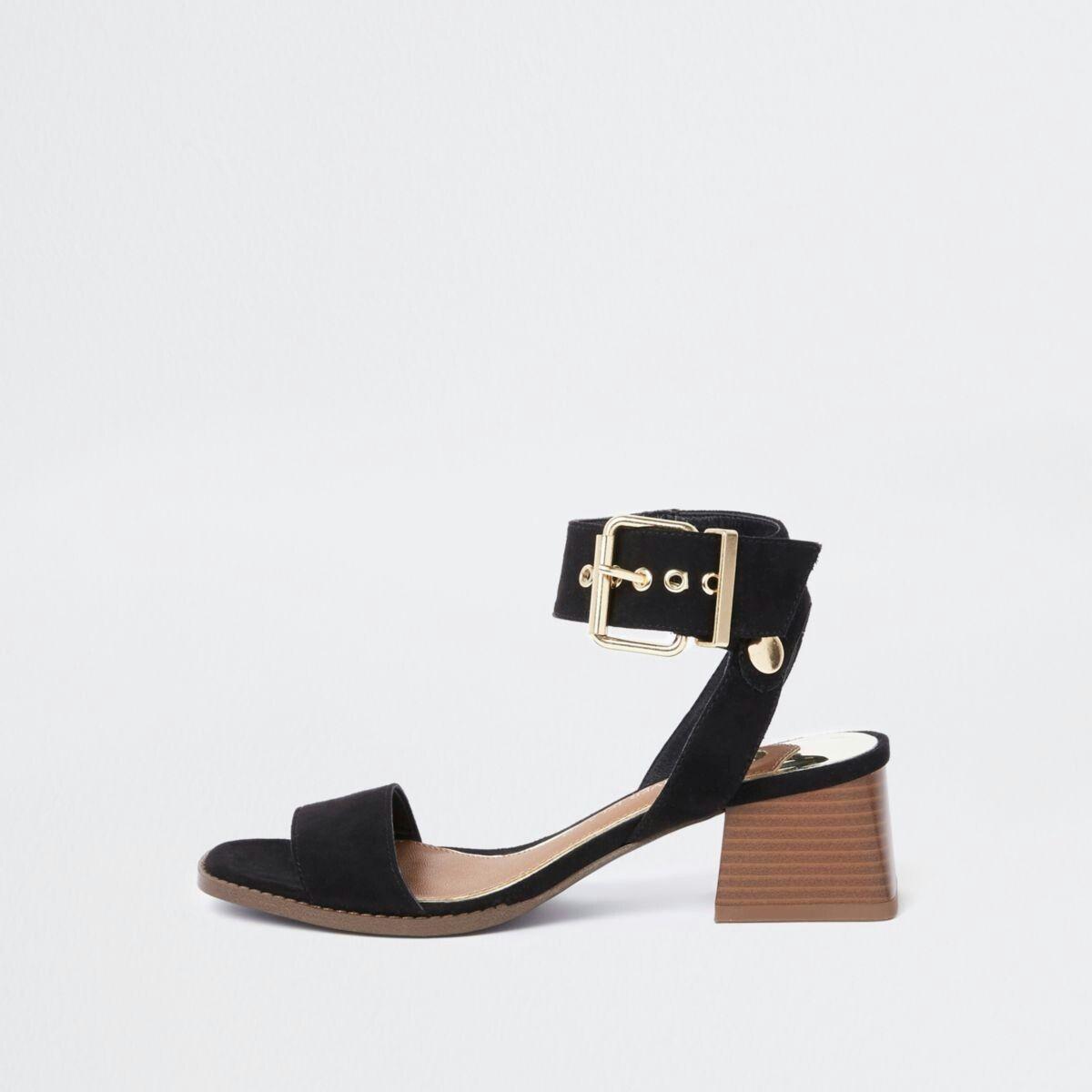 ddb2c2ea015 Black two part block heel sandals