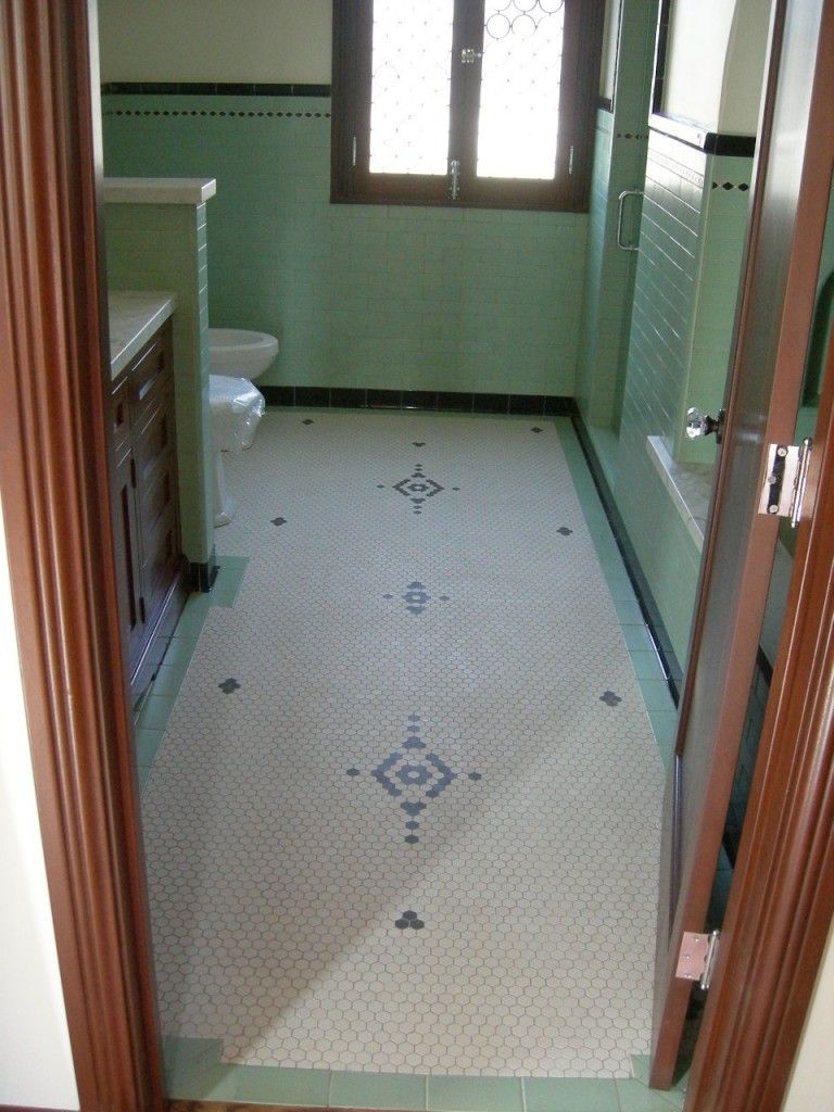 A lovely vintage green tile floor with a great design vintage a lovely vintage green tile floor with a great design vintage dailygadgetfo Image collections