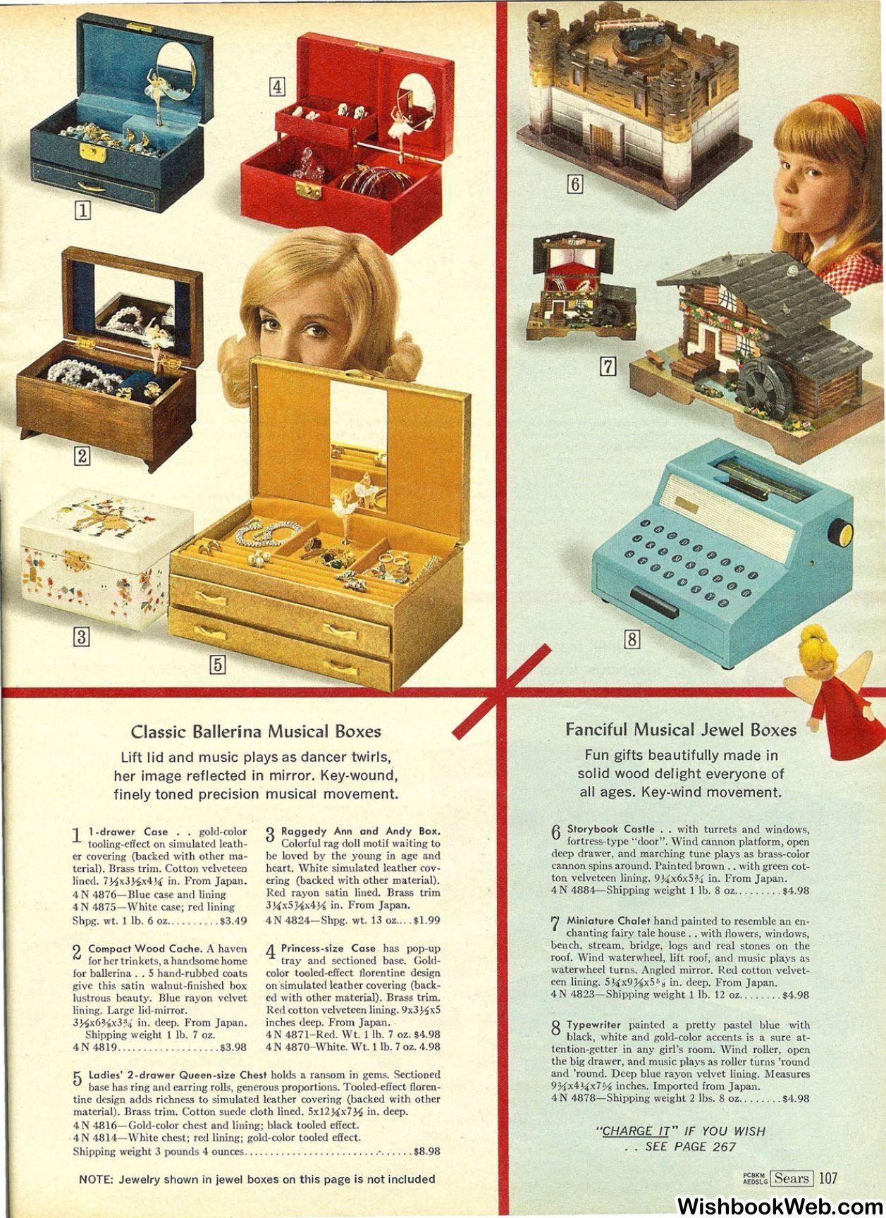 1966 Sears Christmas Catalog Ballerina Jewelry Boxes Vintage