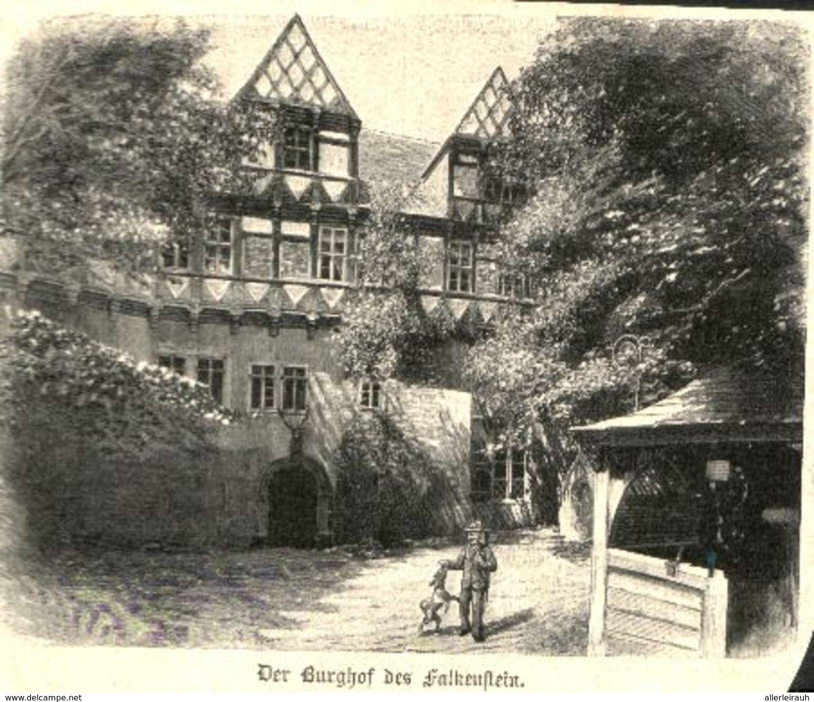 Der Burghof Des Falkenstein Druck Entnommen Aus Zeitschrift 1896 Zu Verkaufen Auf Delcampe Beruhmte Gebaude Burg Zeitschriften