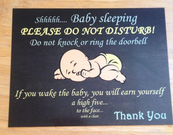 Front Door Magnet Shhhhh Baby Sleeping Please Do Not Disturb If You
