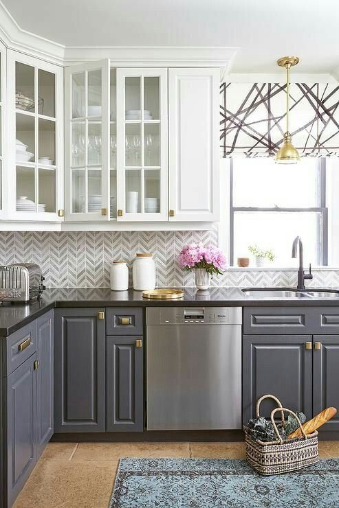 Pin By Kara Barak On Kitchen Grey Kitchen Cabinets Two Tone