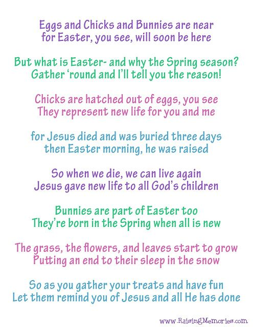 Free Printable Easter Poem About The True Meaning Of Easter And Easter Symbols How Can