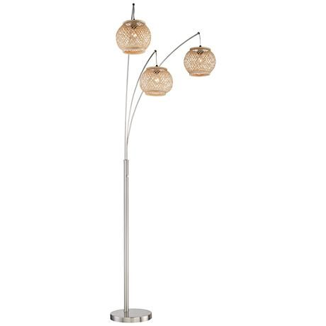 Lite Source Evangeline Rattan 3 Light Arc Floor Lamp 1n799 Lamps Plus Arc Floor Lamps Modern Arc Floor Lamp Floor Lamp