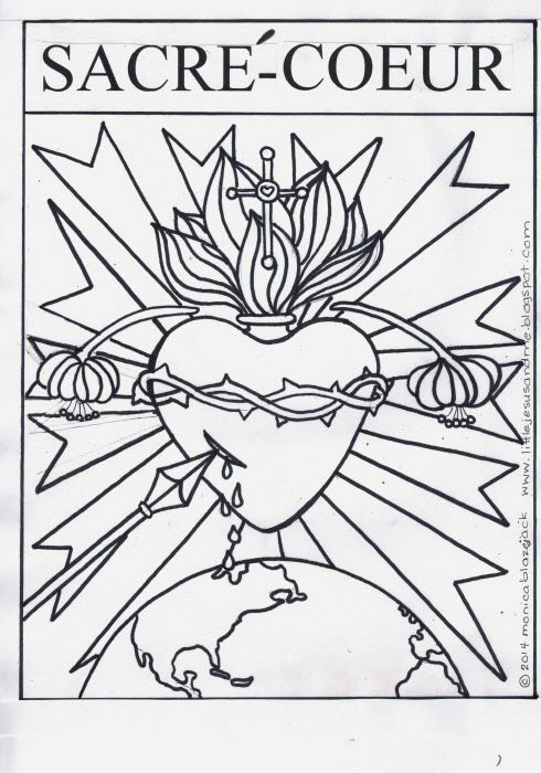 Sacre Coeur Sacred Heart Coloring Page Heart Coloring Pages