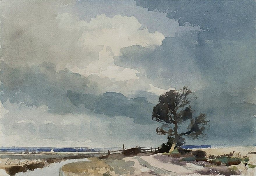 Edward Seago 1910 1974 Uk Turf Fen Norfolk Watercolour