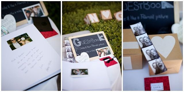 Polaroid wedding picture guest book and chalk board - get your  guests involved!