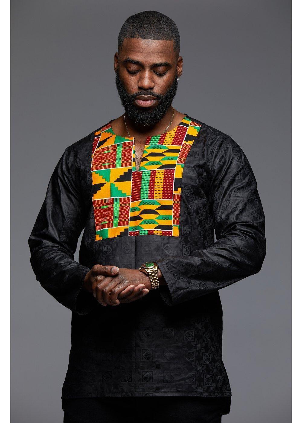 03547e75eb2 Dakari Men s African Print Long Sleeve Trad Shirt (Yellow Green Kente Black)