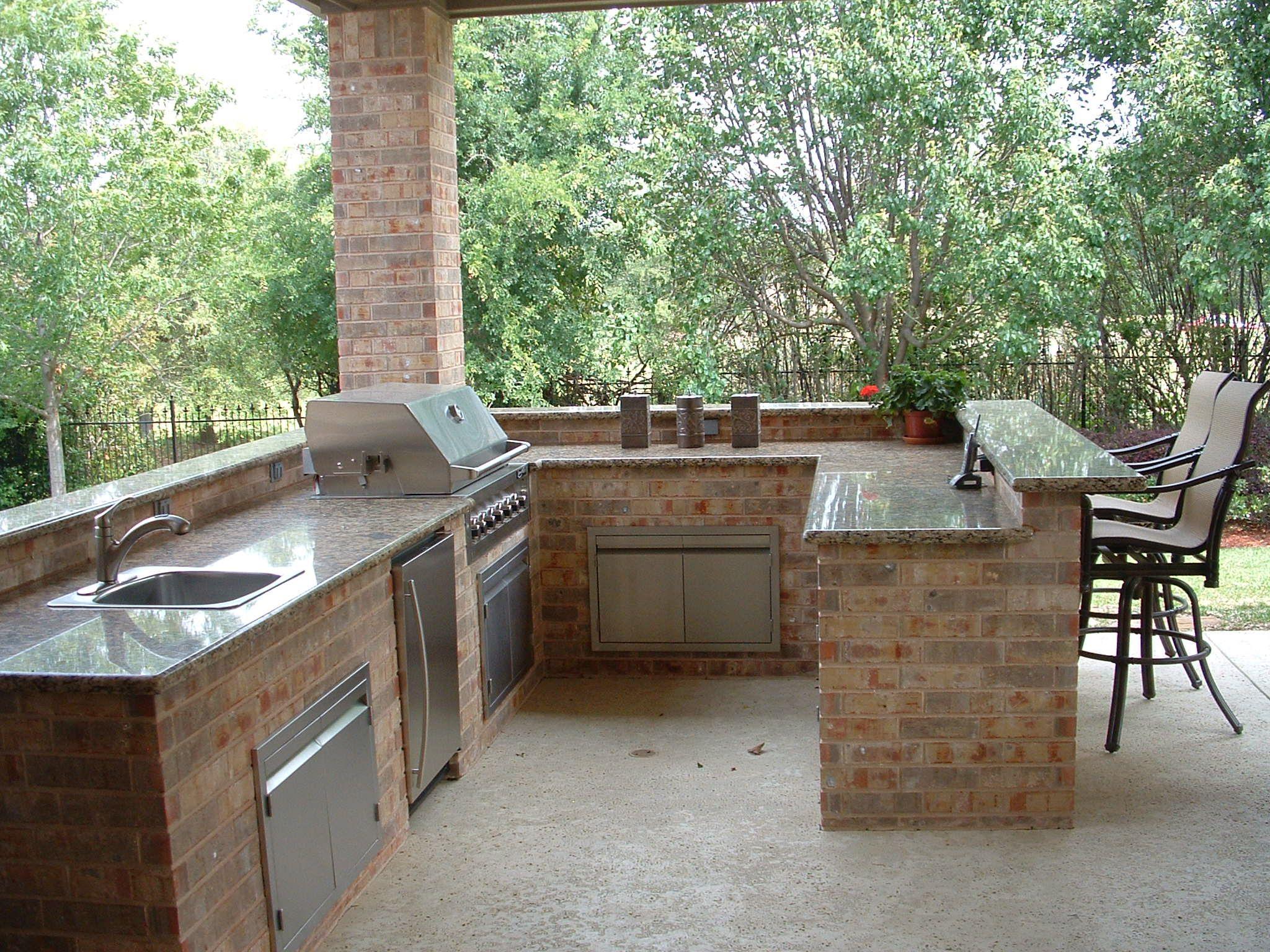 Outdoor Kitchen Bar Natural Stone Backsplash Plans Features Granite Countertops Southlake Texas