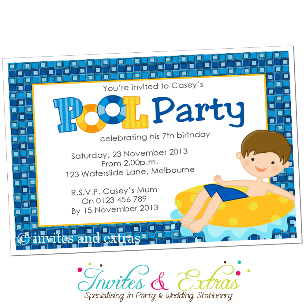 Boys Pool Party Invitation  Cayden Rd Bday    Pool