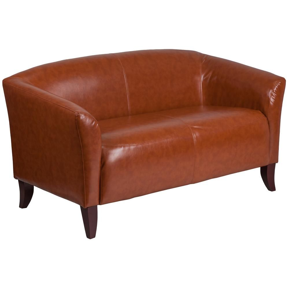 Fantastic Cognac Faux Leather Loveseat In 2019 Products Leather Evergreenethics Interior Chair Design Evergreenethicsorg