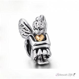 Bead Perle Elfe mit Herz aus 925 Silber Teil vergoldet...