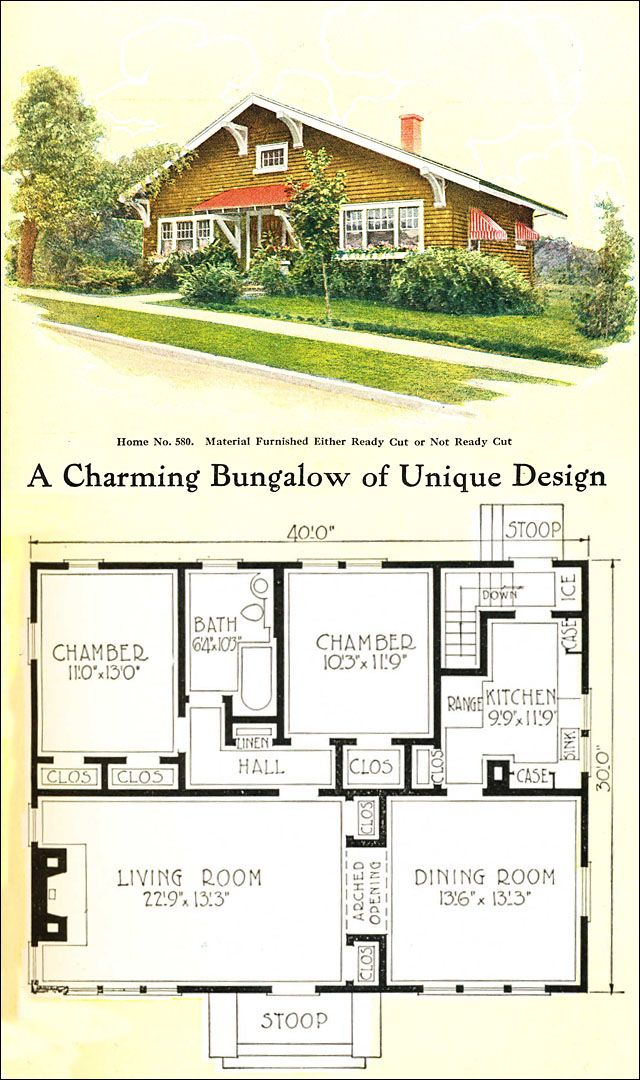 1918 gordon van tine no 580 craftsman style bungalow House plans no basement