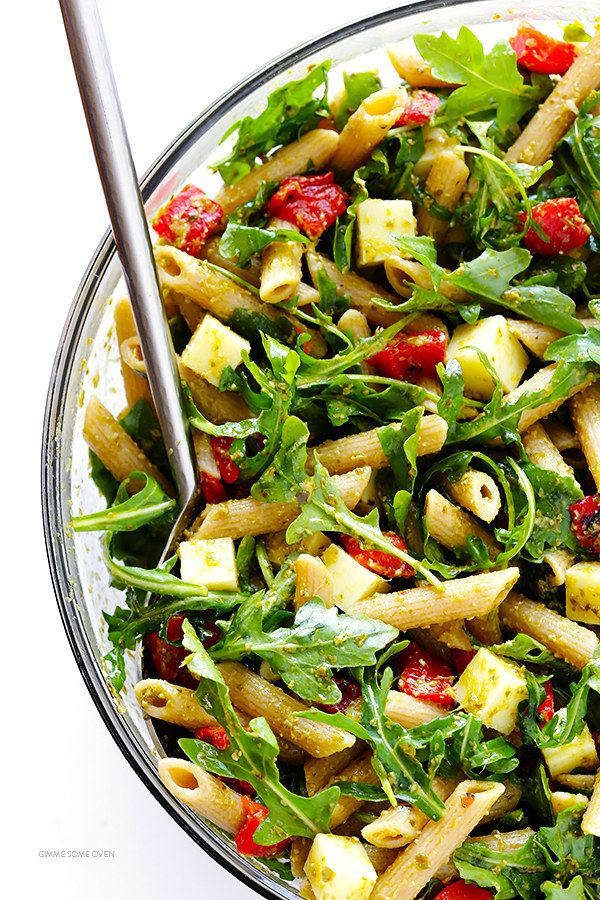 Whole Wheat Pasta Salad With Mozzarella, Roasted Red Peppers, and Pesto