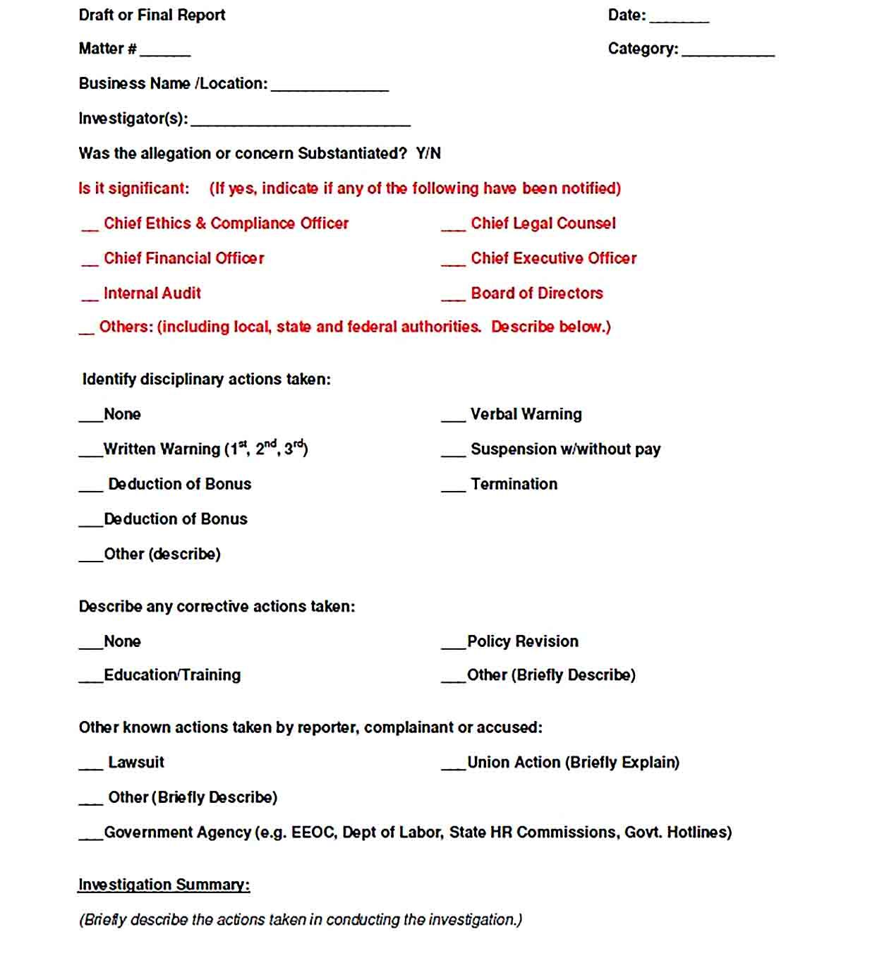 Investigation Report Templates Report Templates Templates Business Template