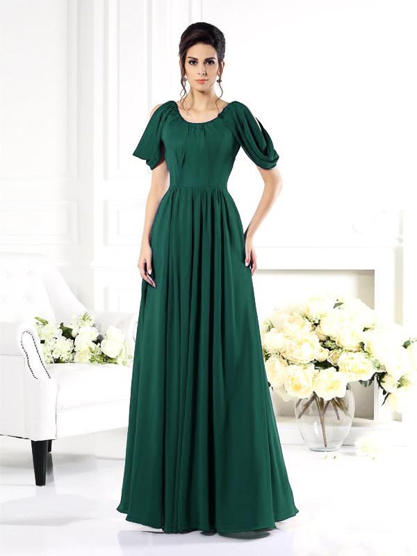 Brautmutterkleider Abendkleid Lang Dunkelgrün Chiffon Mit ...