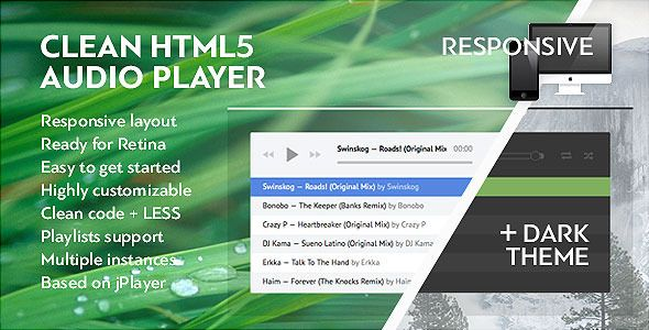 Clean HTML Audio Video Player with Playlist + Wordpress