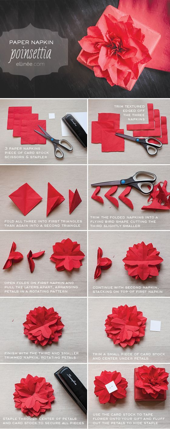 Attach this flower to a gift or gift bag so easy to follow paper napkin poinsettia tutorial same idea of tissue paper flowers nice idea i always have tons of leftover party napkins mightylinksfo