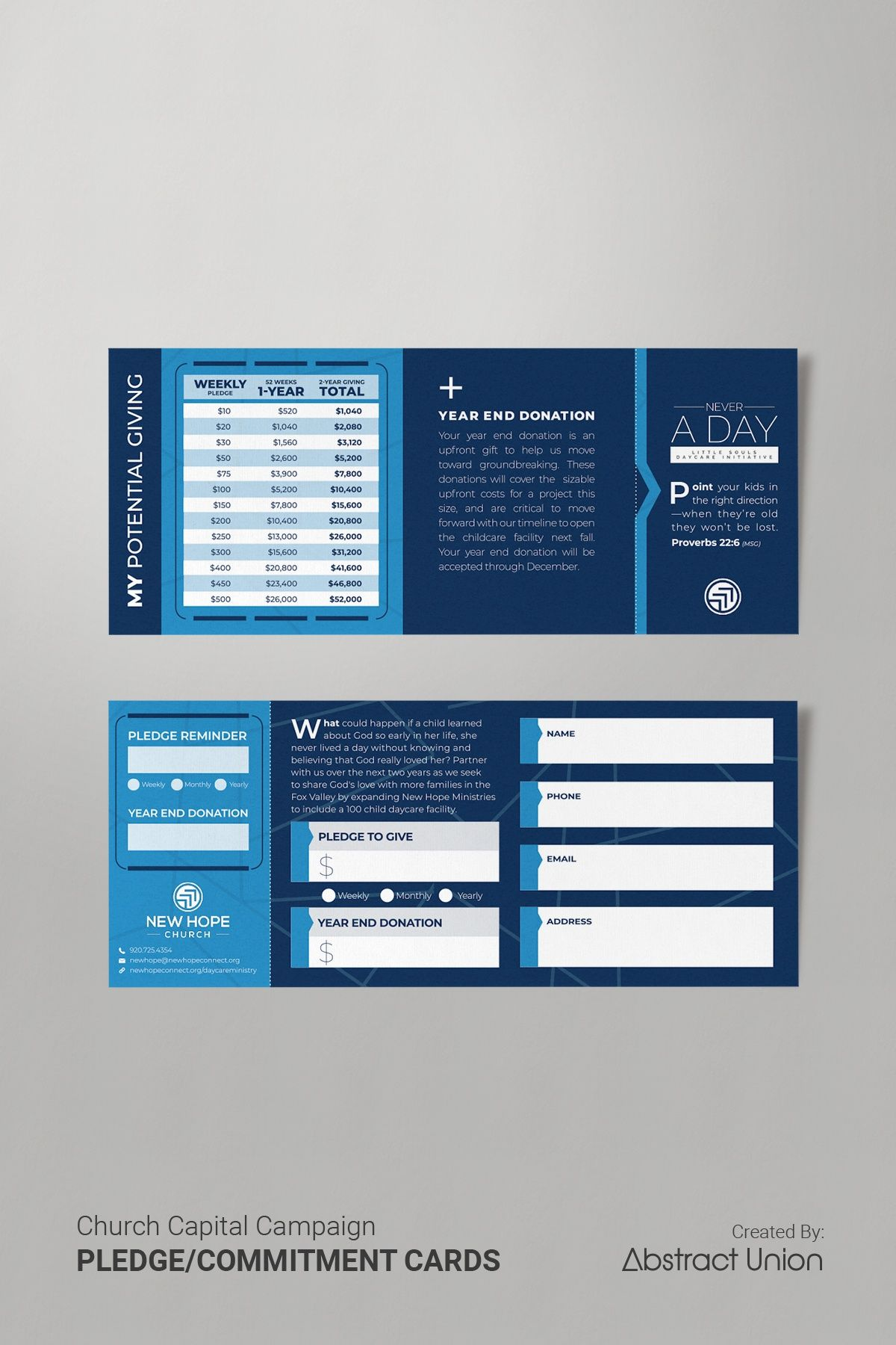 Clean Modern Pledge Card Design For Church Stewardship Campaign Church Capital Campaign Capital Campaign Pledge