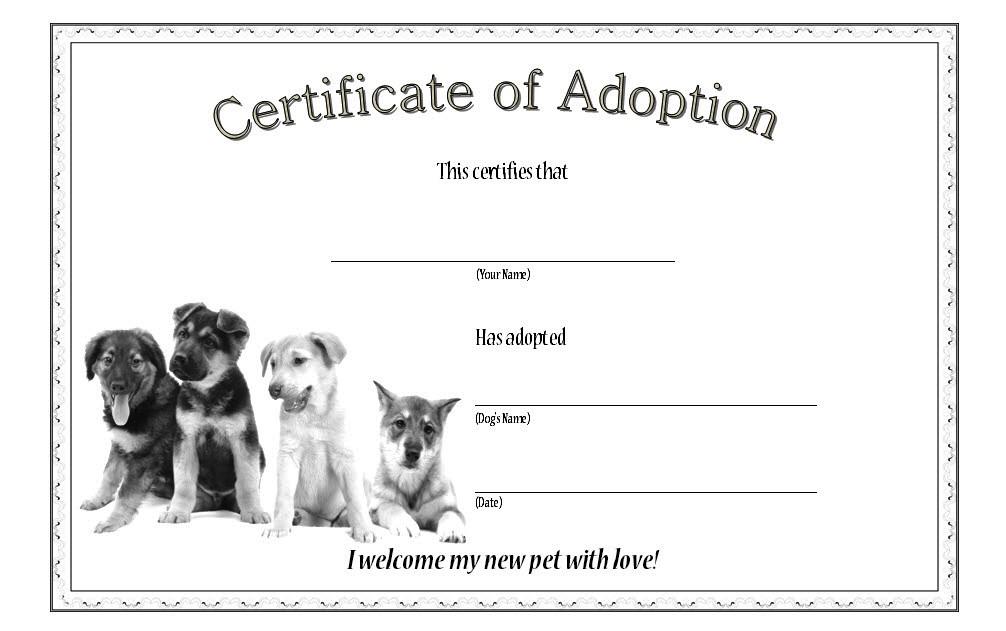 Pin On Dog Adoption Certificate Free Printables